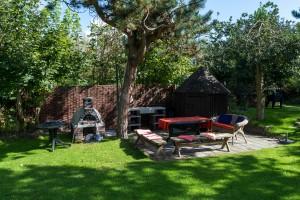 Terras in de tuin met steenoven voor o.a. pizza's!